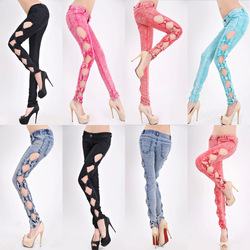 Online Shop 2014 Womens Vintage Side Bow Cutout Ripped Denim Sexy Jeans Trousers Jeggings|Aliexpress Mobile