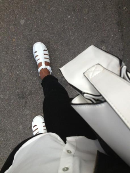 shoes white black flats sandals fashion streetwear