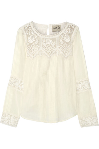 blouse cotton crochet cream top