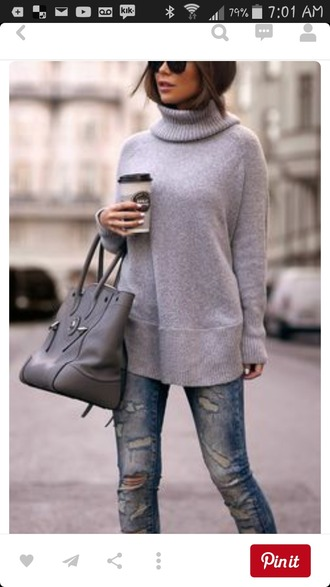 sweater knitted sweater grey sweater