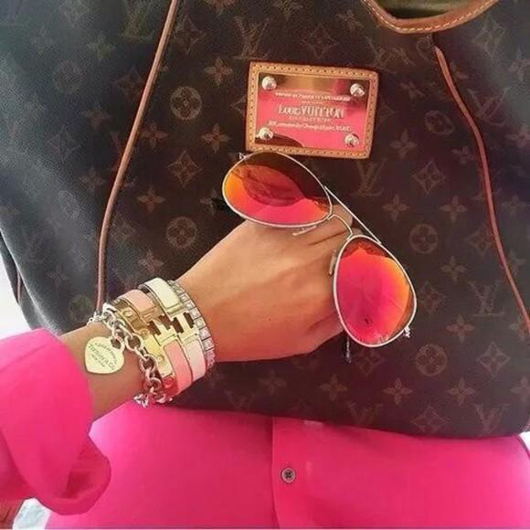sunglasses orange pink sunglasses sunglasses, rings, nail polish, cute rayban