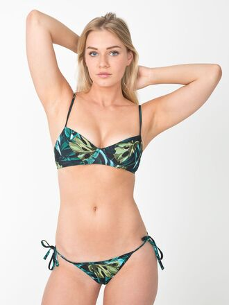 swimwear bikini tropical beach body girl travel holidays print jungle jungle print side tie leaves leaf print straps set underwire underwire bikini top underwire swimwear tropical swimwear