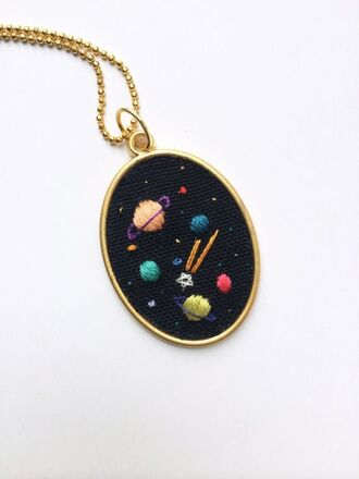 jewels science galaxy print pendant embroidered