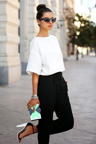 pants hip hop black pants high blouse outfit outfit idea cute high heels style classy clothes shirt top knot streetwear streetstyle top shoes bag sunglasses white
