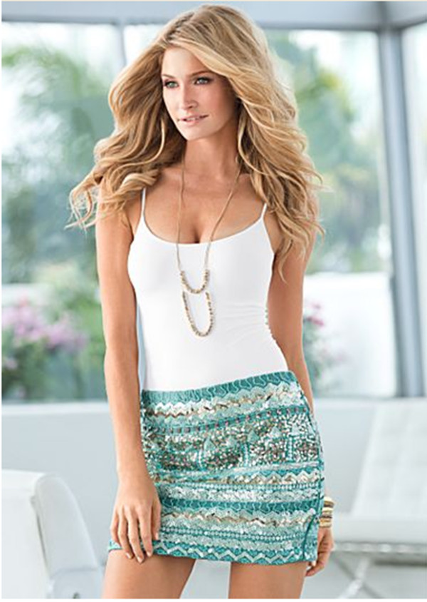 skirt blue green gold aqua aztec mini sequins bead glitter sea