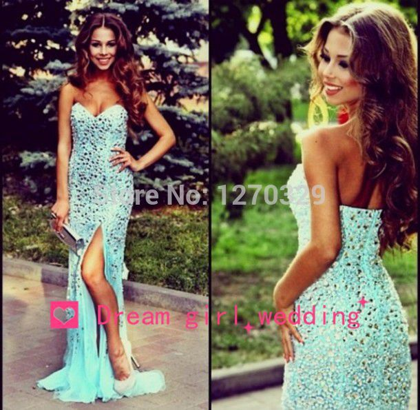 Aliexpress.com : Buy New Arrival 2014 Elegant Mermaid Sweetheart Long Maxi Evening Dress Heavy Beading Formal Party Prom Gown Open Back With Slit from Reliable gown beaded suppliers on Dream Girl Wedding