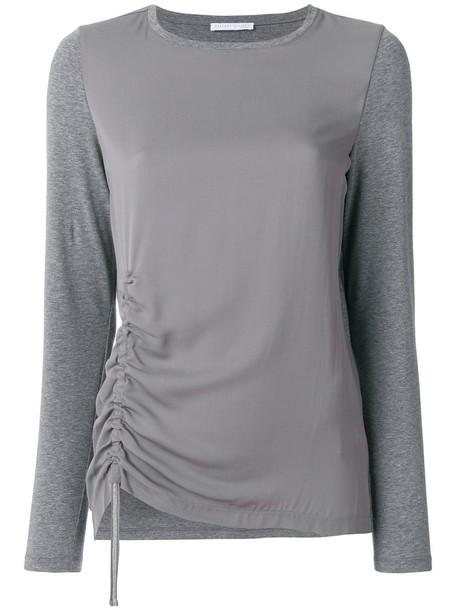 Fabiana Filippi - drawstring knitted top - women - Cotton/Spandex/Elastane - 46, Grey, Cotton/Spandex/Elastane