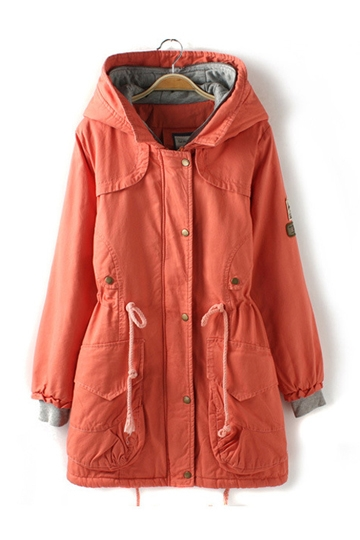 Hooded Parka Coat with Drawstring [FEBK0509]- US$ 88.99 - PersunMall.com