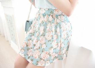 shirt small blue skirt floral blue skirt floral skirt mini mini skirt cute girly flowers light blue light pink floral skater skirt pink roses rose pattern pattern short skirt pleated skirt blue pleated skirt