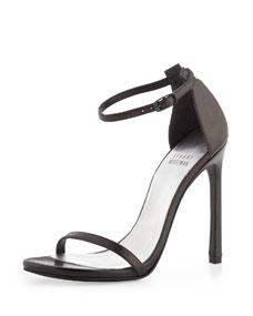 Stuart Weitzman Nudist Ankle-Strap Sandal, Black