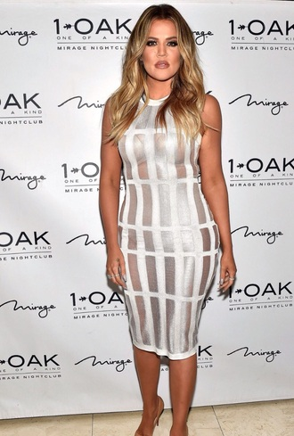 dress mesh dress khole kardashian cream dress