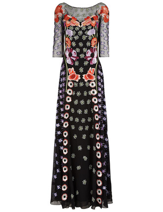 gown embroidered floral black dress