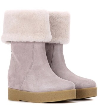 wedge boots boots suede grey shoes