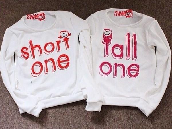 sweater bff matching shirts tall one short one shirt t-shirt quote on it couple sweaters sweater boyfriend girlfriend bff bff hoodie sweatshirt bff shirts