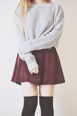 skirt sweater bordeaux