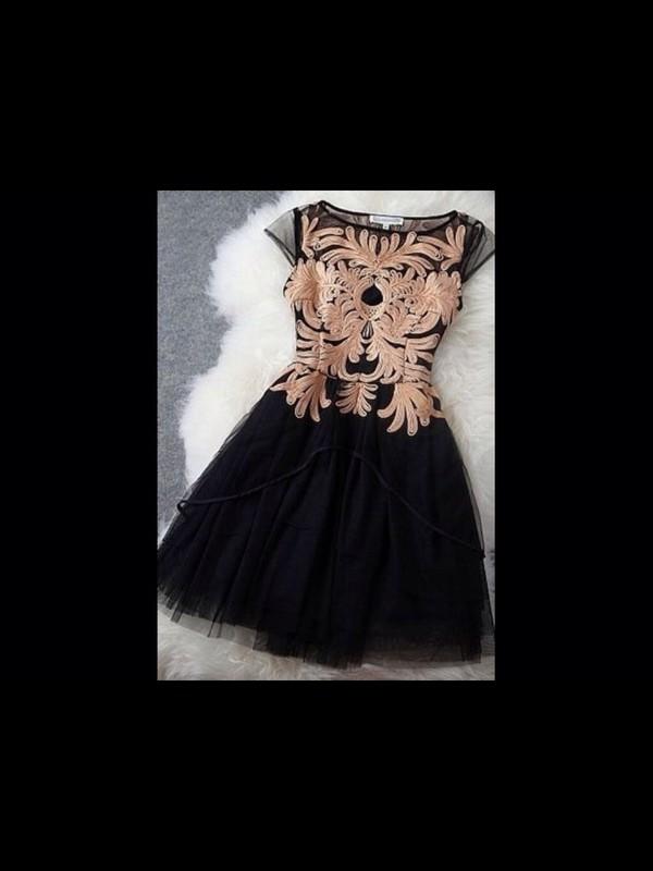 black and gold dress homecoming dress short dress black dress gold chiffon lace dress