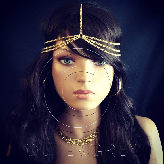 New Head Chain BOHO Style HeadChain Hair Jewelry by OuterGrey