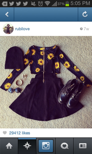 shirt floral skirt jewelry blouse daisy black and yellow dress sunflower beanie hat crop tops cropped sweater boots combat boots sunglasses summer outfits jacket