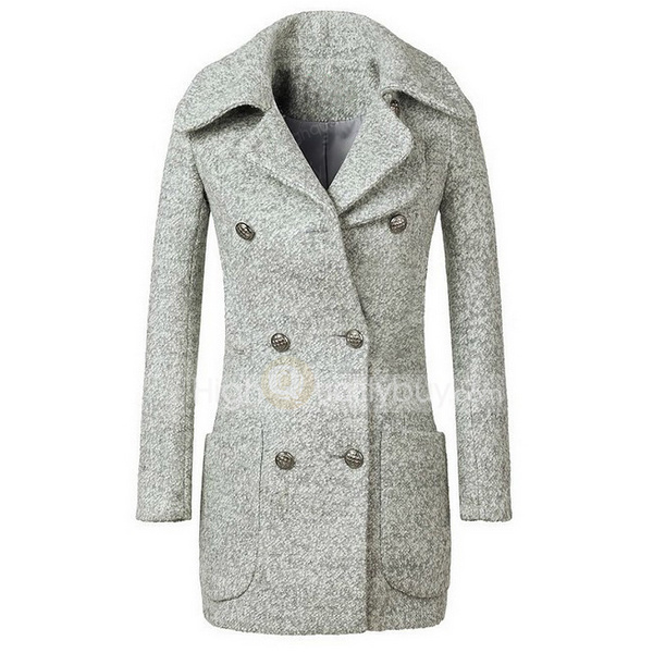 Fashion Slim Double-breasted Wool Blended Trench Coat For Women_49.59