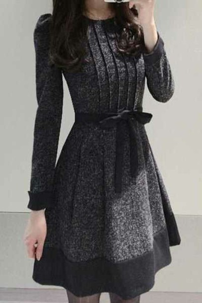 dress long sleeve dress grey dress