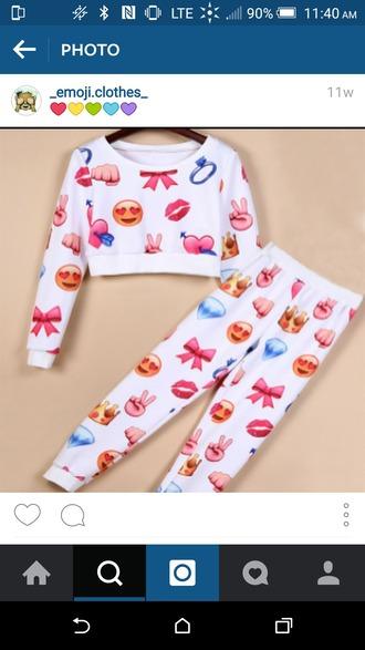 top joggers emoji pants emoji crop top crop tops white top white pants