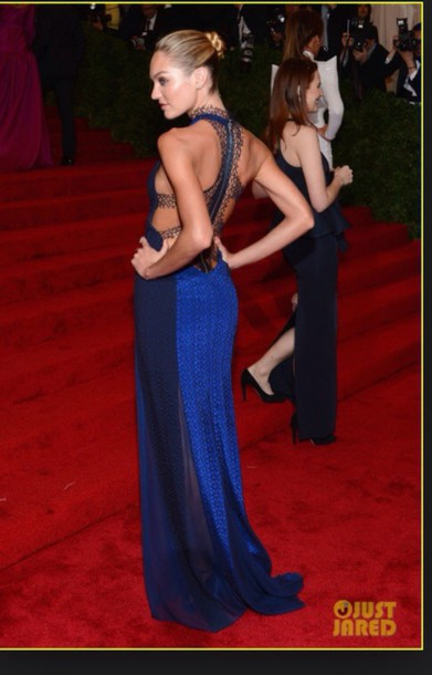 dress candice swanepoel model victoria's secret model blue dress