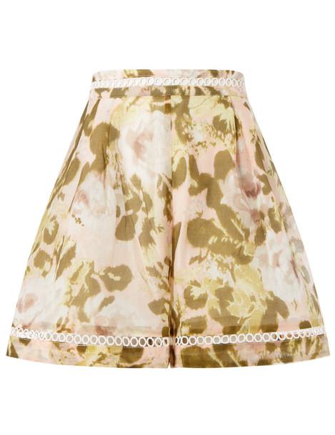 shorts floral cotton pink