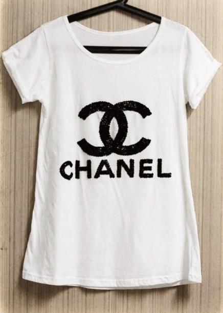 t-shirt chanel t-shirt glitter chanel shirt coco chanel shirt