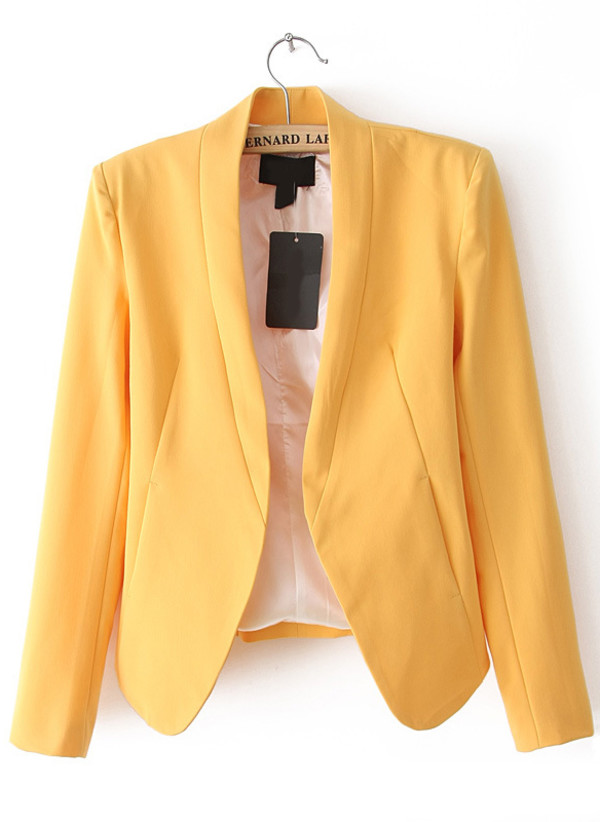 jacket candy color yellow blazers online for women