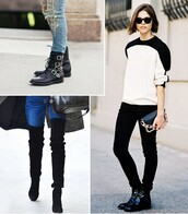 shoes,boots,booties,ankle boots,over the knee boots,suede,leather,casual,funny,punky,motorcycle,punk,edgy,trendy,jeans,skinny jeans,buckles,patent,high heels,flats,chunky heels,stilettos,modern,black heels