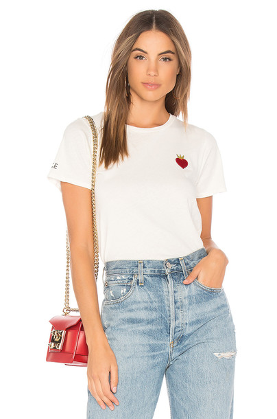 Lauren Moshi vintage love peace white top