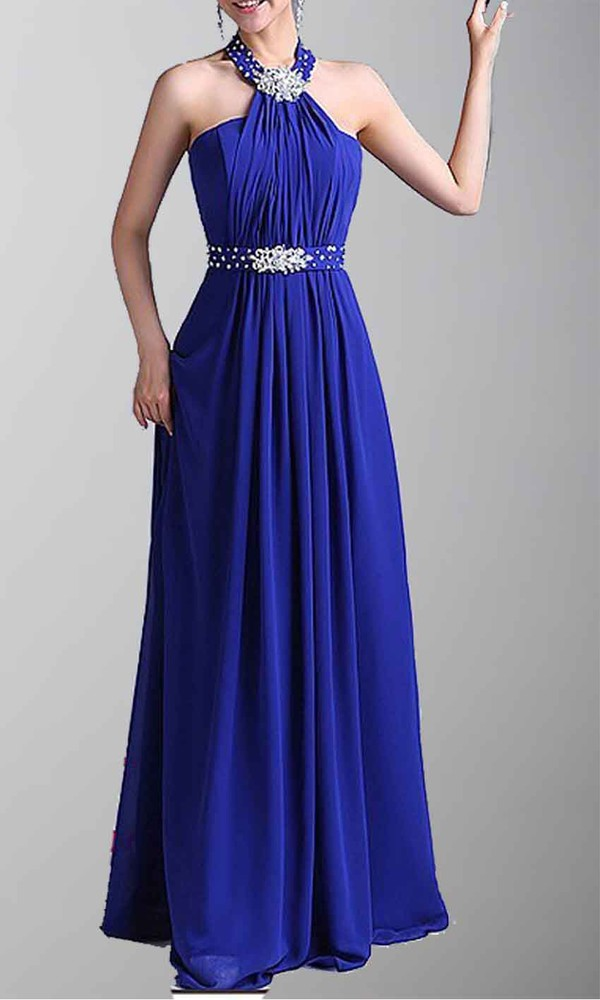 blue dress halter dress long prom dress long formal dress sequin prom dress