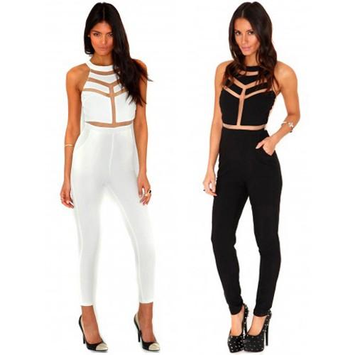 Mesh Panelled Jumpsuit - Jumpsuits & Playsuits - Clothing
