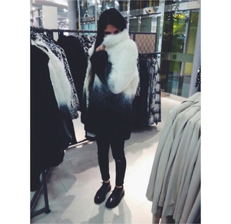 coat fur coat huge coat large coat oversized coat dramatical murder dramatic ombre ombre sweater black skinny jeans black oxfords oxfords black causal pretty cute stylish style trendy outfit idea fashion inspo blogger fashionista rad chill outfit on point clothing fashion