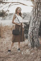 shoes and basics,blogger,blouse,skirt,bag,shoes,sunglasses,sandals,midi skirt,summer outfits,brown skirt