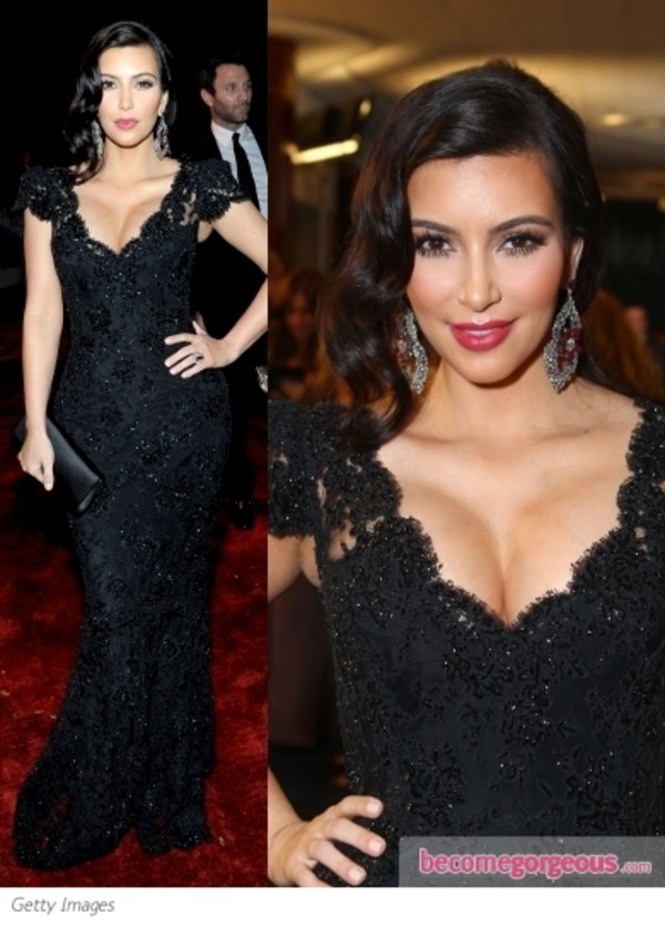 New Arrival Kim Kardashian Black Beaded Lace Evening Gown