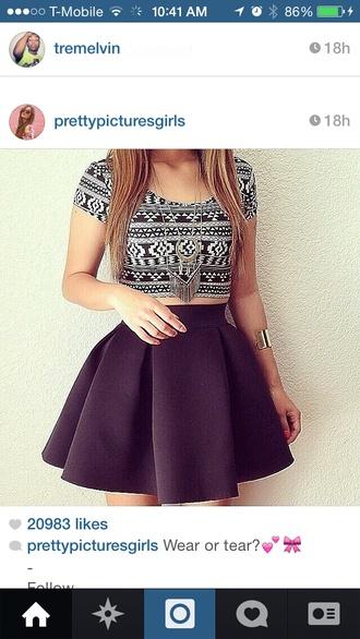 top black and white aztec black skater skirt black skater dress skirt