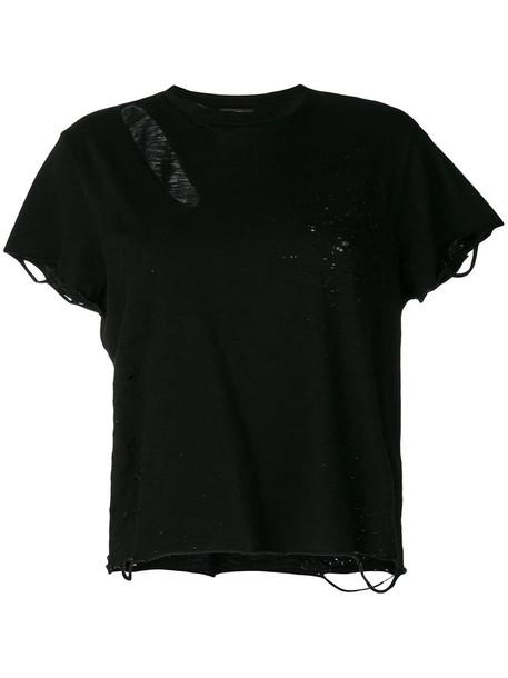 Amiri - distressed T-shirt - women - Cotton - M, Black, Cotton