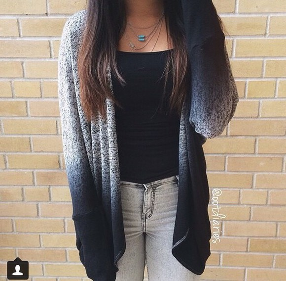 hipster cardigan ombré black and grey outfit ombré cardigan