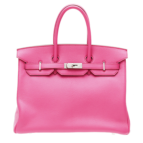 Shop By Hermes Birkin bag 35 Bi-color Fuschia pink/Orange Chevre goatskin Silver hardware | hermeslover.com