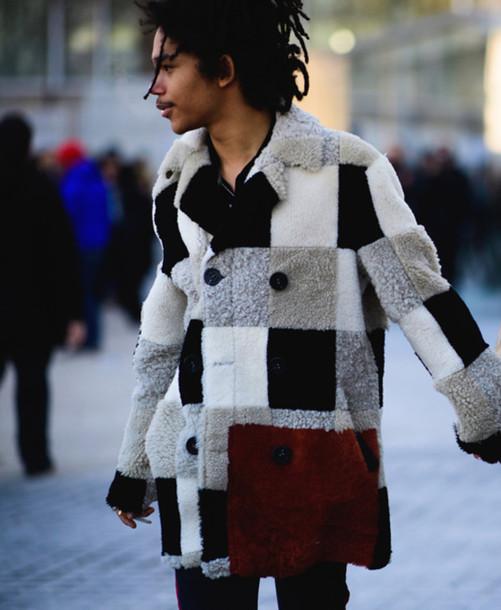 Coat tumblr fur coat patchwork printed coat menswear ...