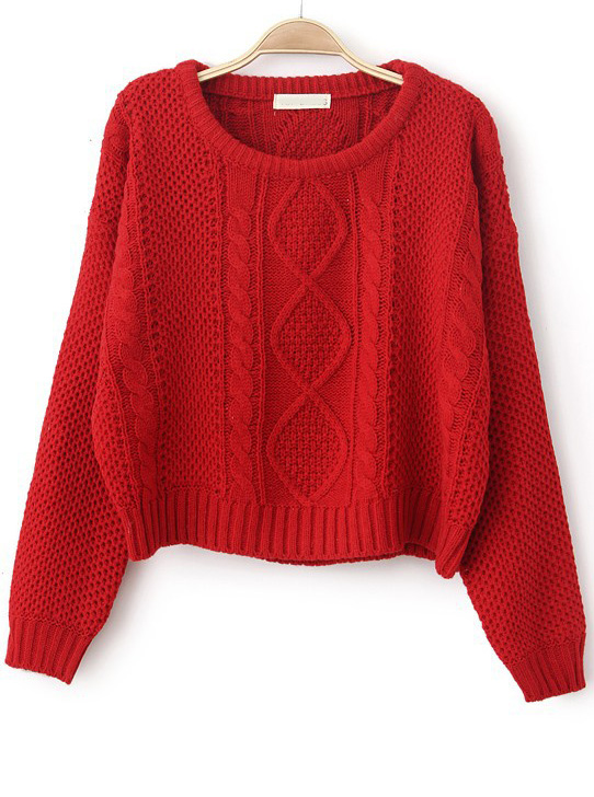 Red Long Sleeve Cable Knit Pullover Sweater - Sheinside.com ee6c42252