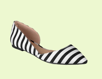 shoes stripes striped shoes flats pointed toe pointed flats