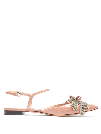 embellished flats leather flats leather pink shoes