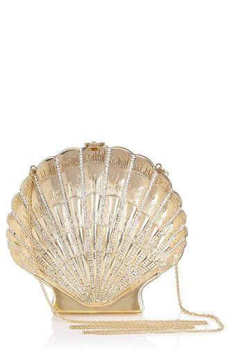 bag shell purse shell shell bag gold clutch mermaid chain bag