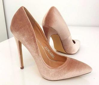shoes rose rose gold pink nude velvet pumps heels