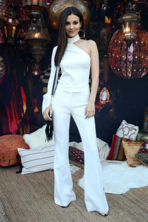 pants white white top asymmetrical victoria justice coachella all white everything blouse top