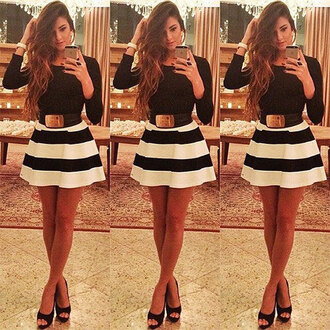 dress black dress striped dress women belt fashion