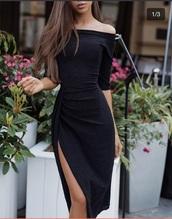 dress,thigh slip,black dress,black off shoulder dress,bodycon dress