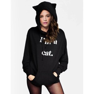 sweater hoodie hipster swag black winter sweater cats rose wholesale black sweater winter outfits winter swag meow quote on it thanksgiving hippie college